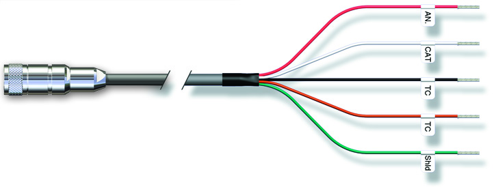 pH & DO Cable VP plug to Ferrules, Type VP