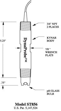 ST856 pH DynaProbe Dimensions