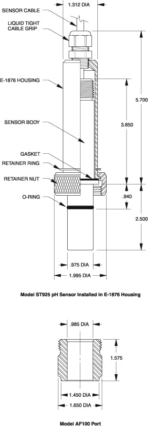 ST925 pH DynaProbe Housing Dimensions