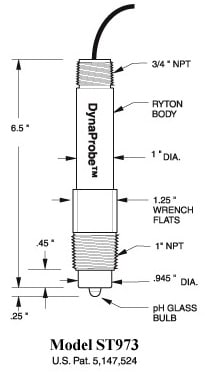 ST973 pH DynaProbe Dimensions